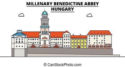 修道院, ベネディクト, ハンガリー, 旅行, スカイライン, ベクトル, millenary, illustration.