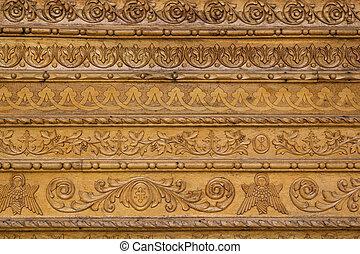 修道院, 彫刻, 終わり, 装飾用, 木, bucovina, 壁, の上
