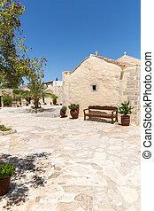 修道院, 最も大きい, -, messara, 島, crete, greece., 谷, (friary), 平野
