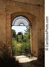修道院, 窓, によって, 光景