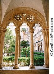 修道院, dubrovnik, croatia., ドミニカ人, アーチ, 庭, 中庭, コラム