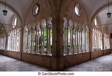 修道院, franciscan, 回廊, dubrovnik, 修道士, croatia, マイナー