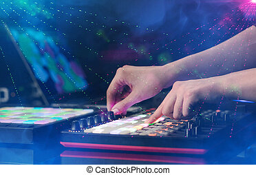 俱乐部, midi, 音乐, 混合, 大约, 颜色, 党, 控制器