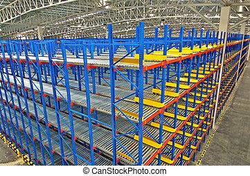倉庫, なだらかに傾斜する, 貯蔵, システム, ラッキング
