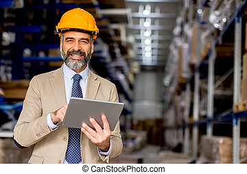 倉庫, エンジニア, 成長した, タブレット, デジタル