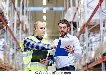 倉庫, クリップボード, 労働者, ビジネスマン
