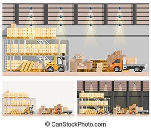 倉庫, セット, compositions
