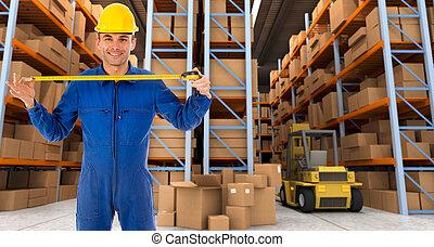 倉庫, テープ, b, 労働者, 測定