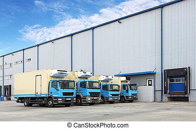 倉庫, トラック, 建物