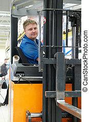 倉庫, トラック, 積込み機, 運転手