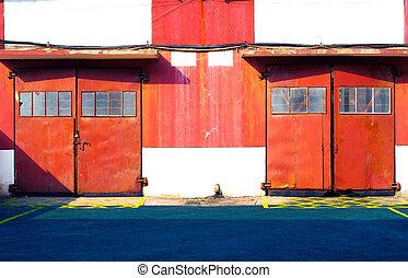 倉庫, ドア, 赤
