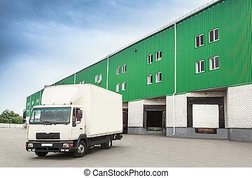 倉庫, ドック, トラック