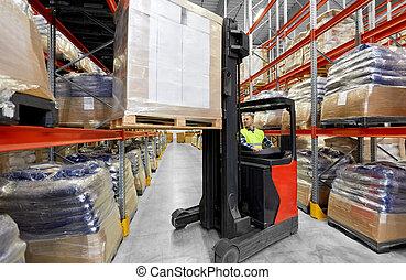 倉庫, フォークリフト, 作動, 積込み機