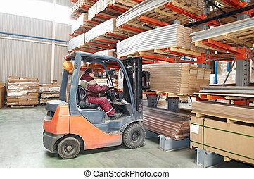 倉庫, フォークリフト, 労働者, 積込み機