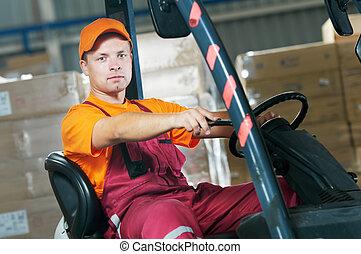 倉庫, フォークリフト, 積込み機, 労働者