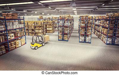 倉庫, フルである, 商品