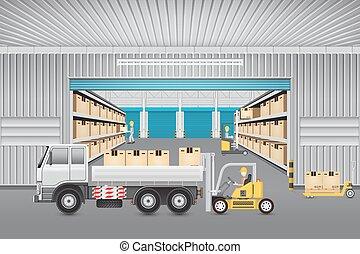 倉庫, ベクトル, デザイン