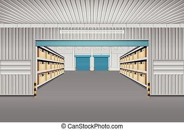 倉庫, ベクトル, 背景