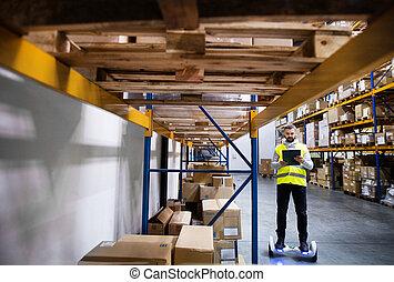 倉庫, マレ, 労働者, hoverboard.