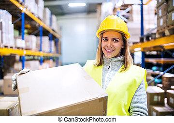 倉庫, ローディング, 労働者, boxes., 女性