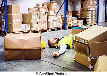 倉庫, 事故, 労働者, 後で, warehouse.