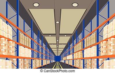 倉庫, 內部, 由于, 箱子, 上, 架子, 遠景, 前面, viewpoint., 矢量, 由于, 套間, 以及, 固体, 顏色, 風格, illustration.