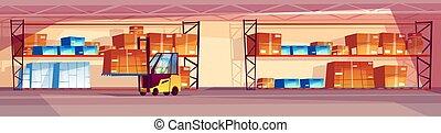 倉庫, 内部, ベクトル, イラスト