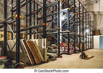 倉庫, 内部, 空, 棚