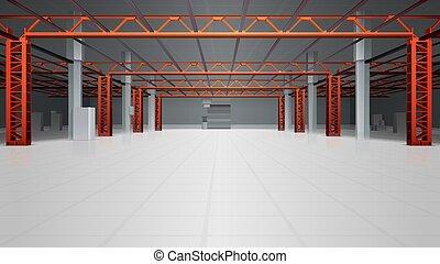 倉庫, 内部, 背景, 現実的