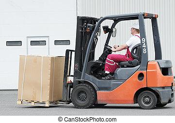 倉庫, 労働者, フォークリフト, 運転手