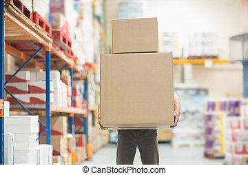 倉庫, 労働者, ボックスを伴う