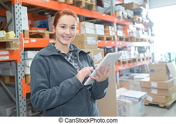 倉庫, 労働者, 若い, タブレット, 保有物