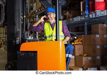 倉庫, 労働者, 電話, 話し
