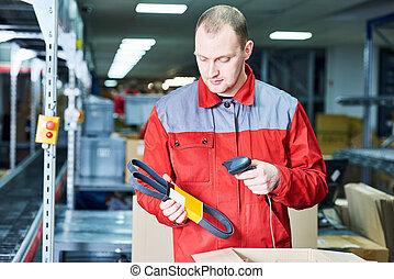 倉庫, 労働者, barcode, レーザー走査器