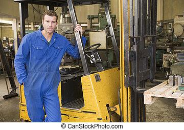 倉庫, 地位, フォークリフト, 労働者
