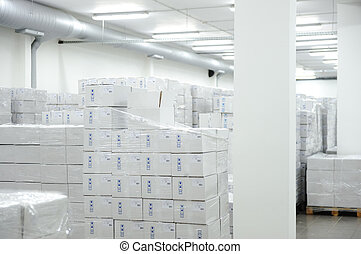 倉庫, 多数, 内部, 現代, 箱