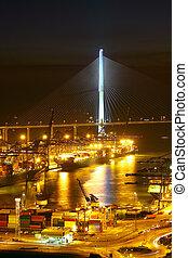 倉庫, 夜晚, 港口, 容器, 貨物