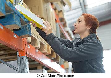 倉庫, 女性, 若い, 仕事