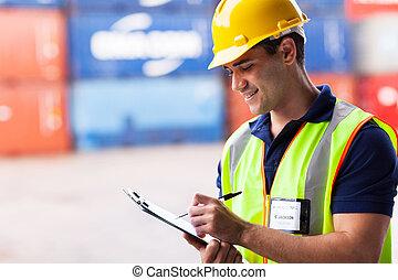 倉庫, 容器, 労働者