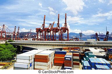 倉庫, 工業, 港口, 容器, 貨物