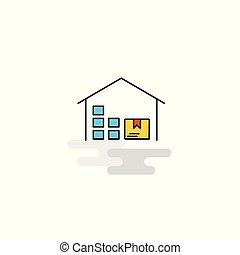 倉庫, 平ら, icon., ベクトル
