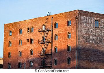倉庫, 建物, れんが, 古い, 赤