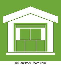 倉庫, 建物, 緑, アイコン