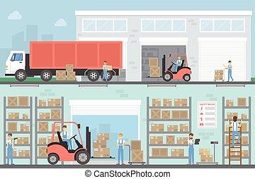 倉庫, 建物, set.