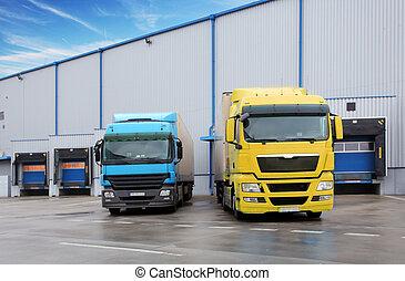 倉庫, 建築物, 卡車