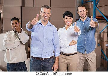 倉庫, 微笑, 労働者, カメラ