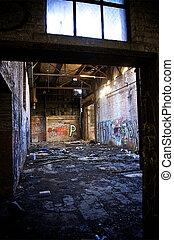 倉庫, 捨てられた, デトロイト