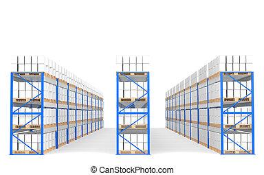 倉庫, 架子, 正面圖, 由于, shadows., 分開, a, 藍色, 倉庫, 以及, 后勤學, series.