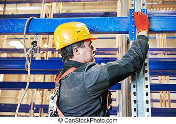 倉庫, 棚, 労働者, インストール, 整理