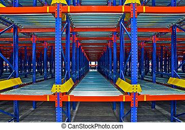 倉庫, 棚, 貯蔵, システム